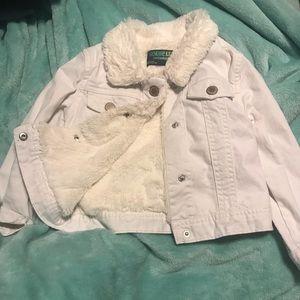 Kids white jean/ faux fur jacket